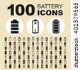 Battery and energy icons. Power pictogram. Electric vector graphic. Technology design collection. - stock vector