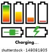 Battery charge icons - stock photo