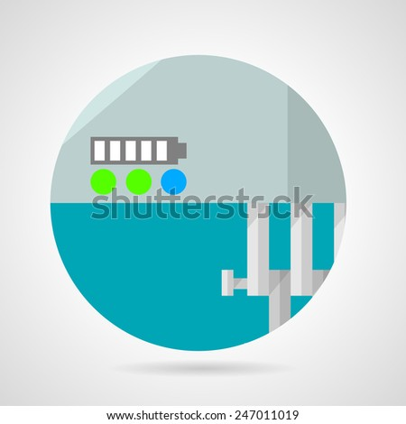 Battery charge level flat vector icon. Flat round vector icon for battery charge level on some mechanism of vehicle on gray background. - stock vector