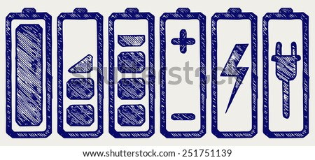 Battery charge level indicators. Doodle style - stock vector