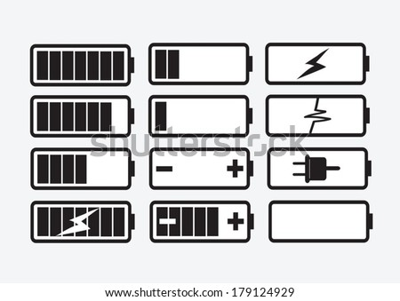 battery charge level indicators Set  Vector illustration - stock vector