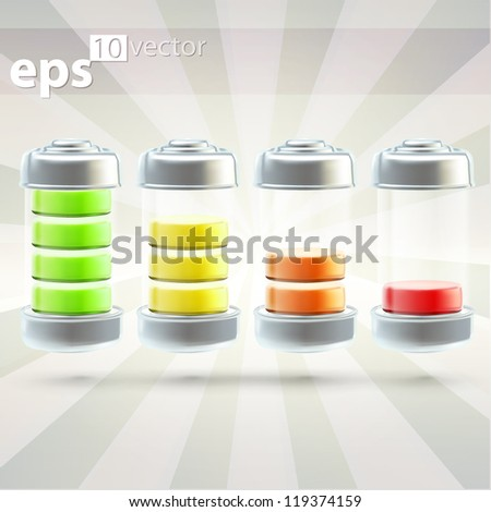 Battery charge set of eps10 vector icon emblems - stock vector