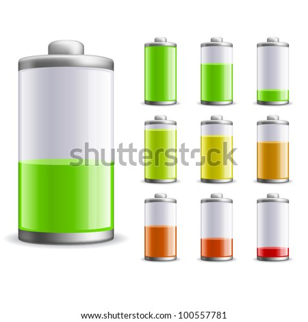 Battery charge status vector illustration. EPS10 file. - stock vector