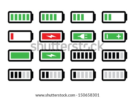 Battery charge vector icons set - stock vector