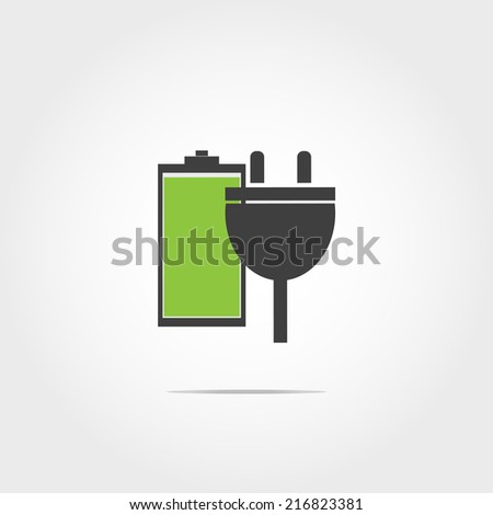battery charger by electric plug icon on white background - stock vector