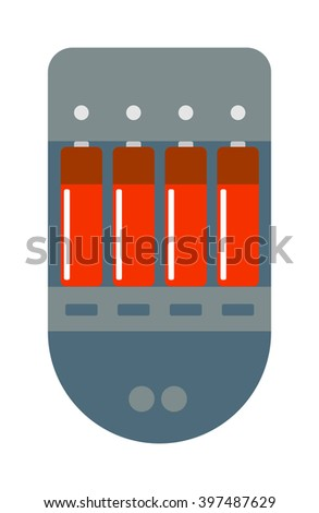 Battery charger power technology and battery electric charger. Battery charger electricity charge and battery rechargeable generation. Battery charger with batteries energy power technology . - stock vector