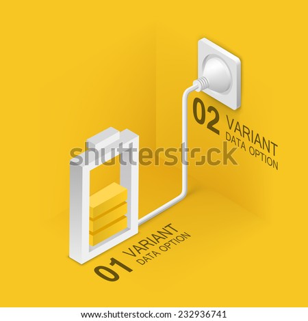 Battery charging from the mains. Vector illustration - stock vector