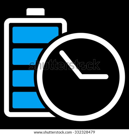 Battery Clock vector icon. Style is bicolor flat symbol, blue and white colors, rounded angles, black background. - stock vector