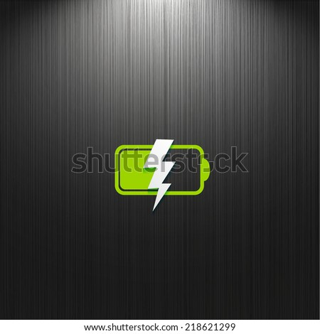 battery, flat icon isolated on dark textured background for your design, vector illustration - stock vector