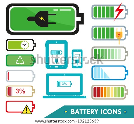 Battery Health Icons Vector Illustration - stock vector
