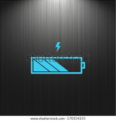 Battery icon, charge level indicator on a dark background for your design - stock vector