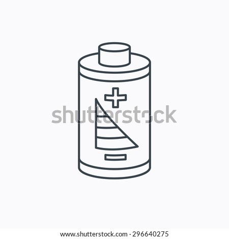 Battery icon. Electrical power sign. Rechargeable energy symbol. Linear outline icon on white background. Vector - stock vector