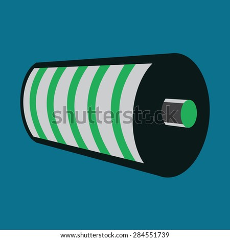 Battery Icon. Full Battery Charge Status. Green Level Indicator. Vector Illustration - stock vector