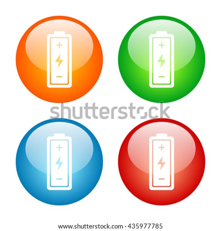 Battery Icon Glass Button Icon Set with Four Colors - stock vector