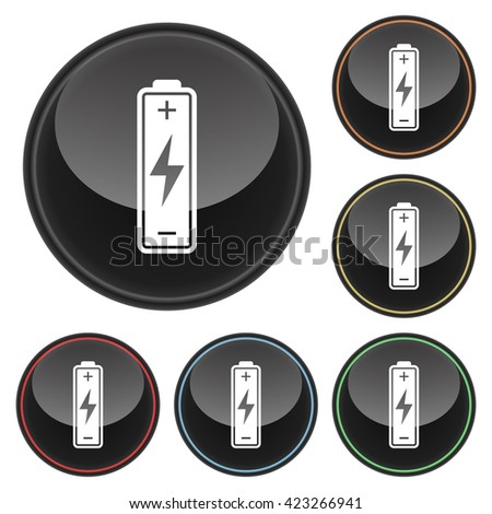 Battery Icon Glossy Button Icon Set in With Various Color Highlights - stock vector