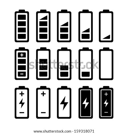 Battery Icon Set - stock vector