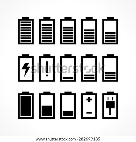 Battery icon set isolated on white - stock vector