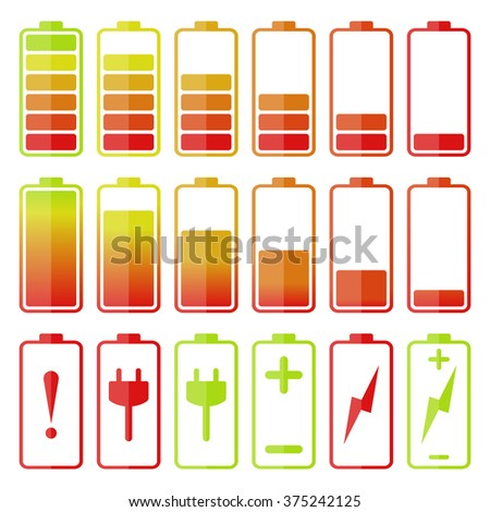Battery icon set. Isolated vector illustration - stock vector