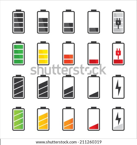 Battery icon set .Set of battery charge level indicators - stock vector