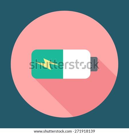 Battery icon, vector illustration. Flat design style - stock vector