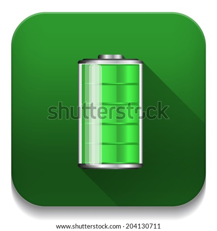 Battery Icon With long shadow over app button