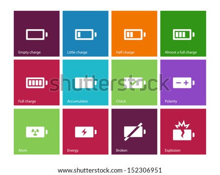 Battery icons on color background. Vector illustration. - stock vector