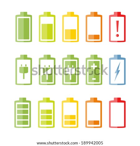 Battery icons set on white background, flat design, vector eps10 illustration - stock vector