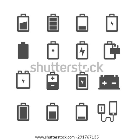 Battery icons set, Vector - stock vector