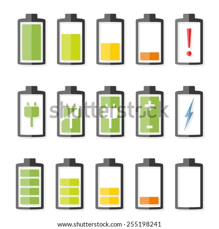 Battery icons set, vector eps10 illustration - stock vector