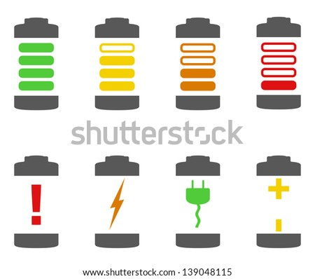 Battery icons, vector eps10 illustration - stock vector