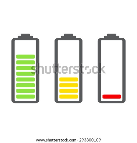 Battery Indicator Icons - stock vector