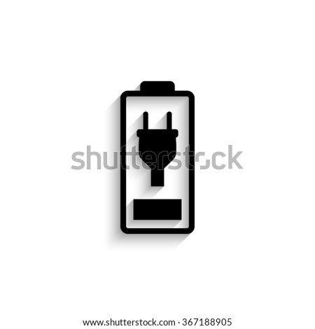 Battery is charging - black vector  icon with shadow