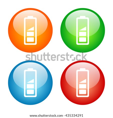 Battery Level Icon Glass Button Icon Set with Four Colors - stock vector
