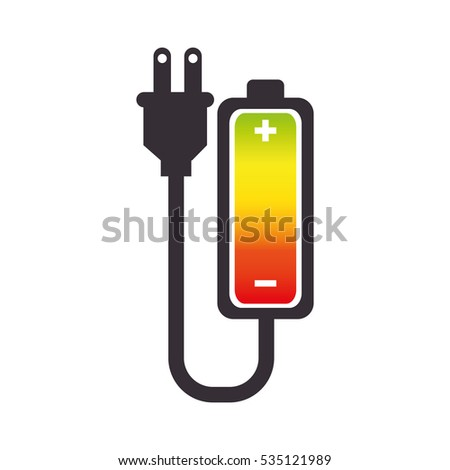 battery level with wire isolated icon