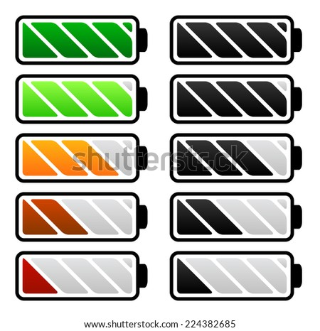 Battery life, battery level indicators. Battery vectors. - stock vector