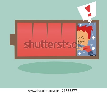 Battery Life crisis need recharge. Flat vector illustration - stock vector