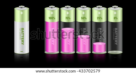 Battery load illustration isolated on black background, vector. - stock vector