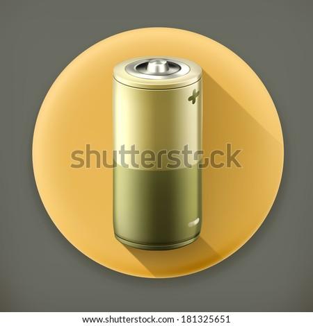 Battery, long shadow vector icon - stock vector