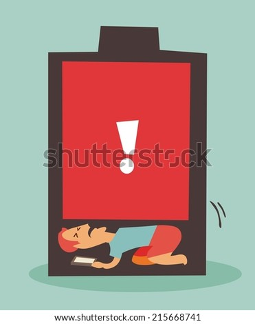 Battery low need recharge. Flat vector illustration - stock vector