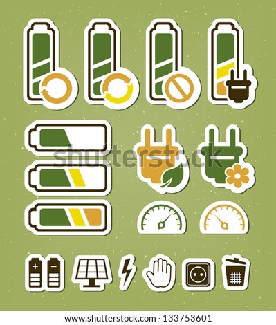 Battery recycling icons set - stock vector