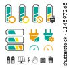 Battery recycling pictograms set - stock photo