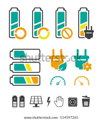 Battery recycling pictograms set - stock vector