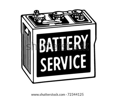 Battery Service - Retro Ad Art Banner - stock vector