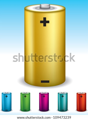 Battery set, easy color change. - stock vector