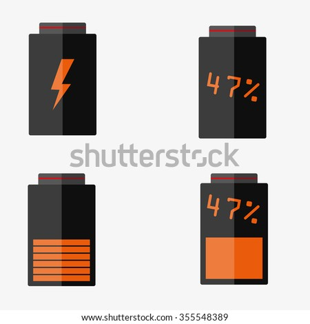 Battery set of vector icons - stock vector