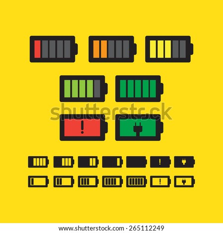 Battery status icons of your device - stock vector