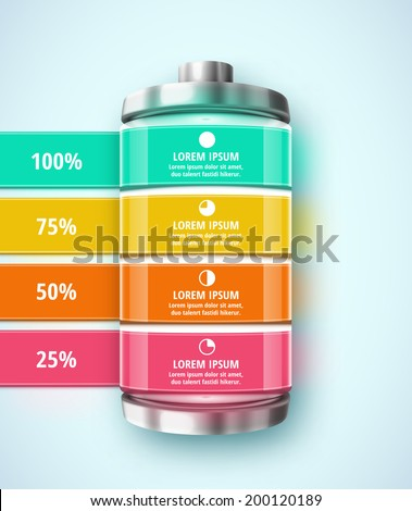 Battery, template infographic, eps 10 - stock vector