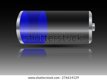 battery with blue light on a gray background with shadow and reflection  - stock vector