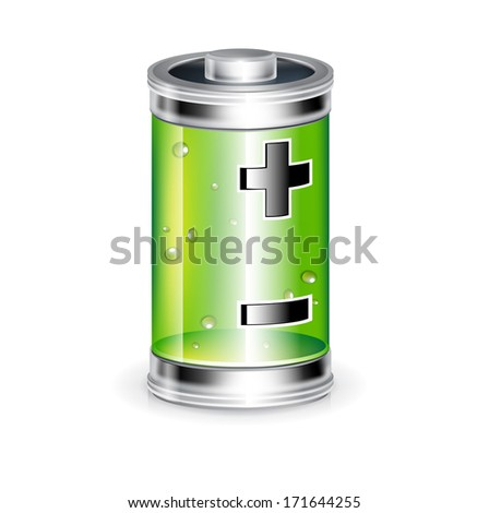 battery with plus minus sign isolated on white - stock vector