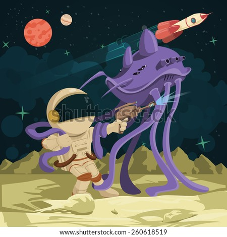Battle astronaut and alien on the planet - stock vector